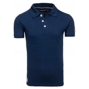 Tmavo modré pánske polo tričko s vlajkou