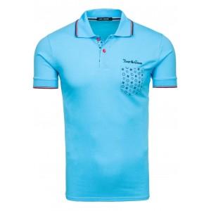 Modré pánske polo tričká s vreckom na ľavej strane