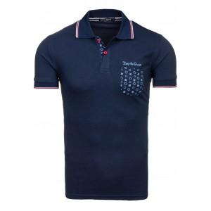 Tmavo modré pánske polo tričká so vzorovaným vreckom