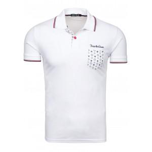 Biele pánske polo tričká bavlnené