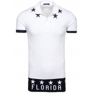 Biele bavlnené pánske polo tričká s potlačou