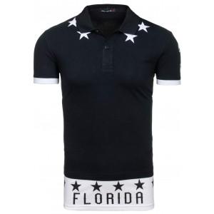 Čierne pánske polo tričká s nápisom FLORIDA
