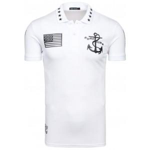 Bavlnené biele pánske polo tričká s potlačou
