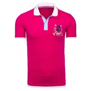 Ružové pánske polo tričká s lemovaním