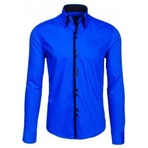 Modrá pánska slim košeľa s lemovaním