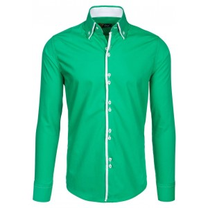 Štýlové zelené pánske košele s dlhým rukávom