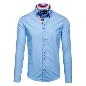 Svetlo modrá spoločenská pánska košeľa s gombíkom na golieri