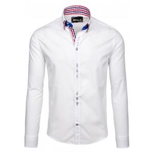 Biele elegantné pánske košele s dlhým rukávom