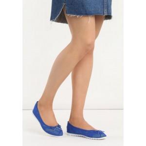 Pohodlné modré dámske balerínky so zaoblenou špičkou
