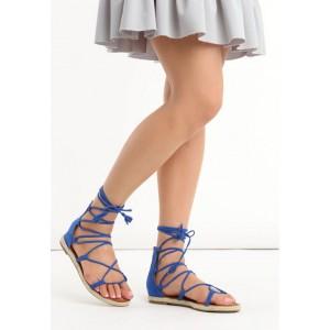 Trendy modré gladiátorky s opletenou podrážkou