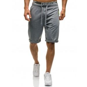 Sivé pánske krátke nohavice s vreckami na zips