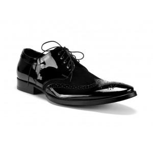 Pánske spoločenské kožené topánky čierne COMODO E SANO