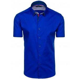 Modré pánske košele s krátkym rukávom