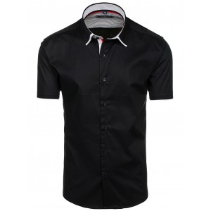 Elegantné pánske košele s krátkym rukávom čierne
