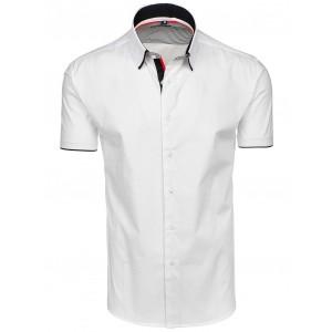 Pánske biele košele s krátkym rukávom a lemovaním