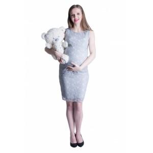 Sivé tehotenské šaty s čipkou na oslavu
