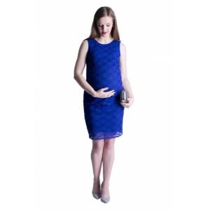 Tmavo modré spoločenské tehotenské šaty s čipkou