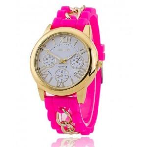 Ružové dámske hodinky so silikónovým remienkom