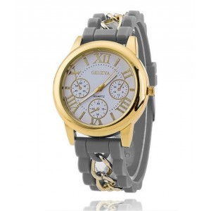 Sivé silikónové dámske hodinky s kovovým doplnkom