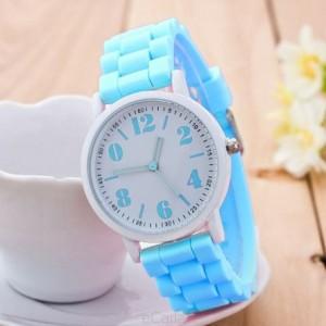 Dámske silikónové hodinky svetlo modré