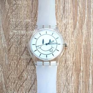 Biele silikónové hodinky so smajlíkom