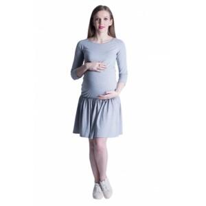 Pohodlné tehotenské šaty v sivej farbe