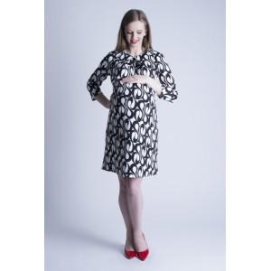 Vzorované biele tehotenské šaty na oslavu