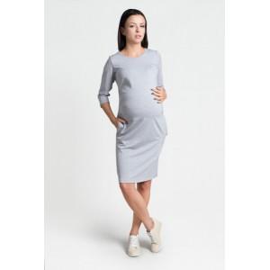 Svetlo sivé šaty pre tehotné s vreckami a trojštvrťovým rukávom