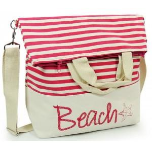 Dámska ružová plážová kabelka s nápisom BEACH
