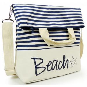 Tmavo modré dámske kabelky na pláž