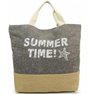 Sivá plážová taška s nápisom SUMMER TIME