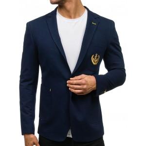 Štýlové modré pánske sako s nášivkou