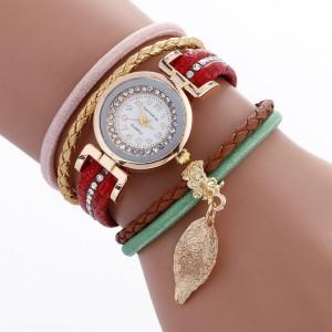 Červené dámske ozdobné hodinky s príveskom