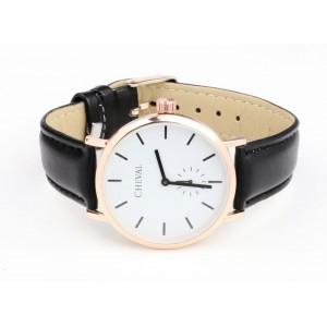 Dámske kožené hodinky čiernej farby