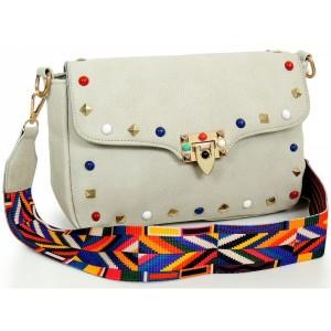 Sivá dámska crossbody kabelka s farebným ramienkom