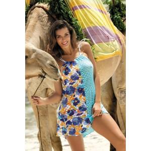 Modré plážové šaty s kvetmi