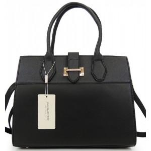 Elegantná kabelka s prackou čiernej farby