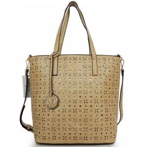 Béžová shopper kabelka s príveskom