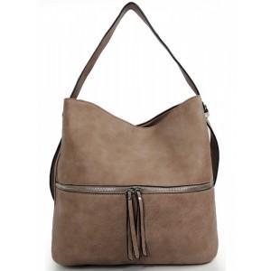 Hnedá dámska kabelka cez rameno so strapcom