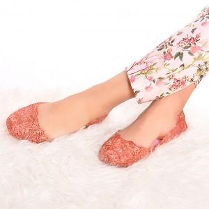 Ružové dámske balerínky s pleteným motívom