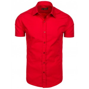 Červené pánske košele s krátkym rukávom