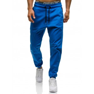 Bavlnené pánske tepláky modrej farby
