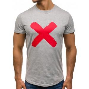 Sivé pánske tričko s okrúhlym výstrihom