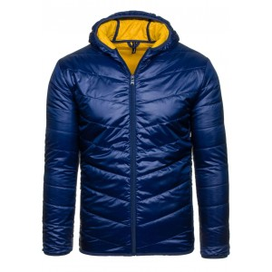 Modrá prechodná bunda s kapucňou
