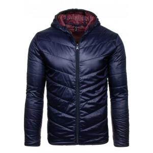 Tmavo modrá pánska prechodná bunda s kapucňou