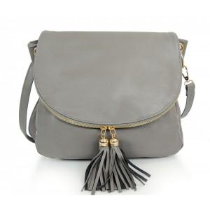 Sivá listová kabelka s ozdobným zapínaním