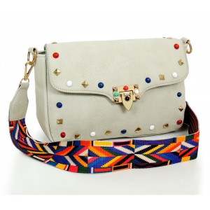 Svetlosivá dámska listová kabelka s aztéckym remienkom