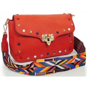Červená dámska listová kabelka s aztéckym remienkom