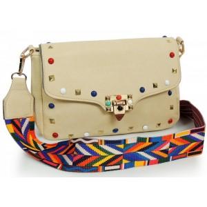 Béžová dámska listová kabelka s aztéckym remienkom