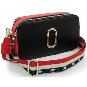 Čierno červená listová kabelka s remienkom
